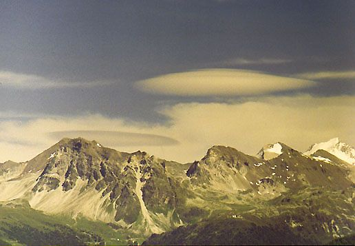 Lenticular clouds over the Swiss Alps