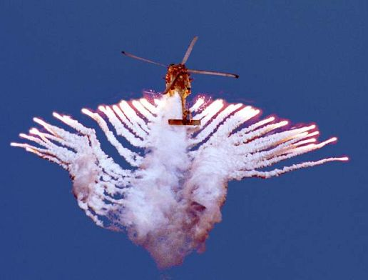Sea Hawk helicopter fires flares