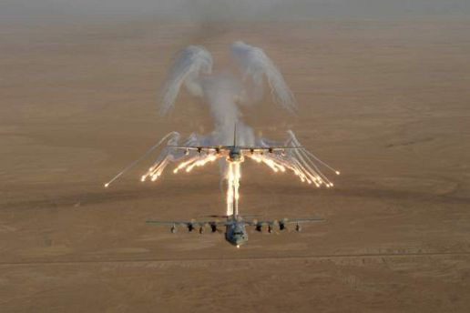 KC-130 Hercules aircraft over Iraq firing flare salvos