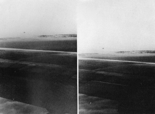 Black and white enlargements from photos No. 1 and 2