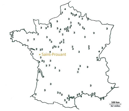 Distribution of French tornadoes